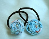 Ponytail Holders with Handmade Roses No 2 - Set of 2