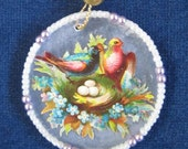 Victorian Christmas Ornament Vintage Birds Nest Die Cut