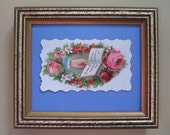 Victorian Ephemera, Romantic Home Decor, Antique Victorian Calling Card, Die Cut Floral Scrap Framed