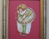 Valentines Day Decor Framed Vintage Valentine Card Valentines Decor 1920s Die Cut Framed