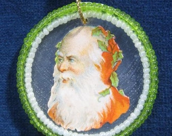 Feather Tree Christmas Ornament Vintage Victorian Die Cut Santa Victorian Scrap Beads