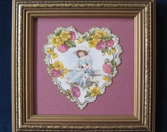 Victorian Valentine Card Vintage Victorian Valentine Heart Girl and Puppies Die Cut Valentine Wildflower Garland