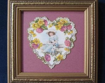 Valentine Decoration Vintage Victorian Valentine Heart Girl and Puppies Die Cut Valentine Wildflower Garland