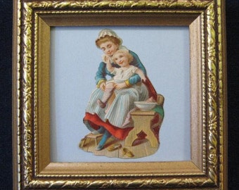 Antique Victorian Mother and Child Scrap Die Cut Framed