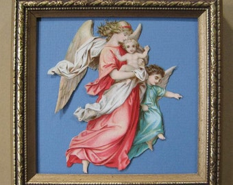 Antique Victorian Scrap, Antique Angels, Paper Die Cut Framed Scrap Christmas Decor