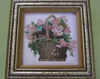 Old Fashioned Victorian Cat Tabby Kitten Wicker Basket Cherry Blossoms Framed