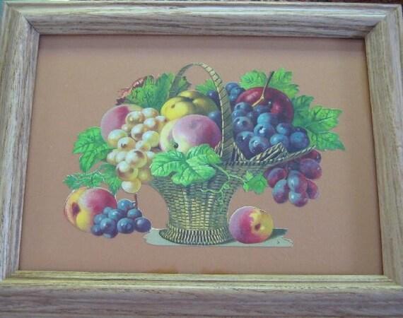 Vintage Still Life Fruit Basket Fruit Centerpiece Fruit Art Victorian Die Cut Scrap Framed