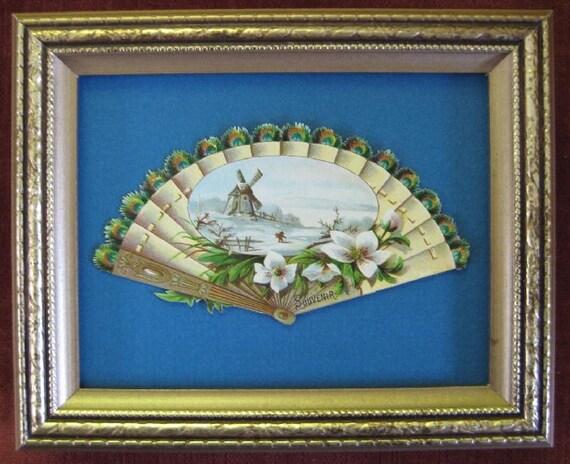 Victorian Decor Vintage Victorian Paper Fan 1890s Ephemera Framed Romantic Home Decor