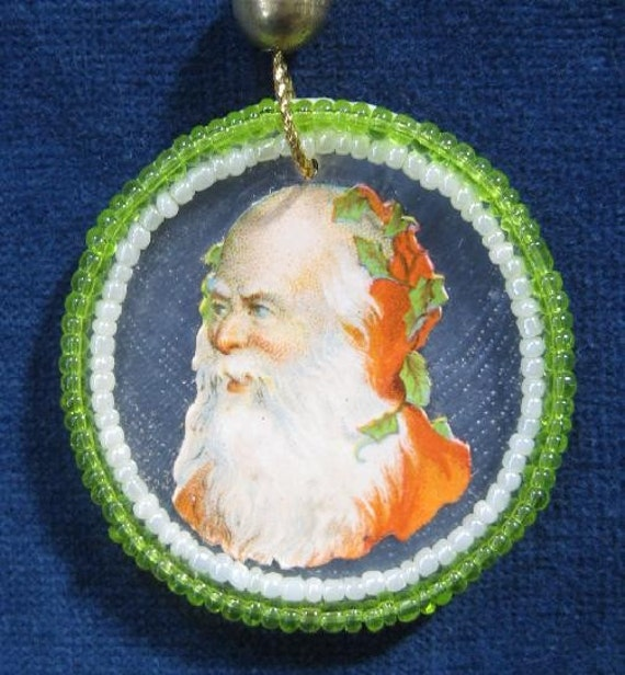 Feather Tree Christmas Ornament Vintage Victorian Die Cut Santa Victorian Scrap Beads