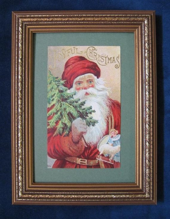 Vintage Christmas Santa Postcard Christmas Tree and Toys Framed