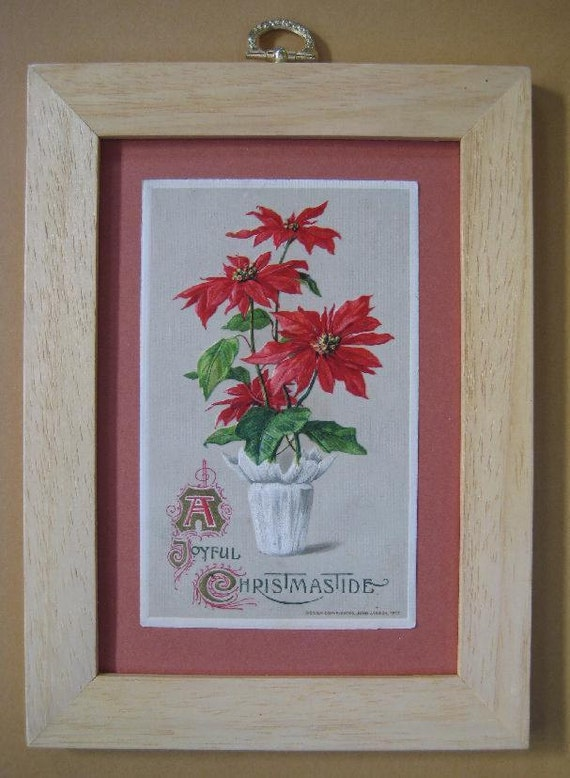 Traditional Christmas Decor. Vintage Christmas Decor, Antique Postcard Framed, Red Christmas Flower, Poinsettia Plant