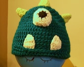Child's Monster Hat with Horns and Bulging Eye - Turquoise with Green Horns - Size 3-5 years