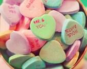 Valentine Photograph,Still Life, Romantic Shabby Chic Photograph, Pastel Colors, Conversation Hearts Photo, Fine Art Print