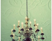 Chandelier Photograph, Somewhere 5x7 Print, Mint Green Shabby Chic Still Life Photo