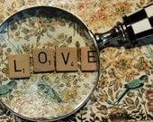 Scrabble Tile Photograph, Love Magnified,  4x6 Print, Message, Wedding, Anniversary Photo, Fine Art Photography