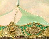 Carnival Photograph, Vintage Carousel Print 5x5 Inches, Nursery Decor, Surreal Art, Circus Art, Green Gold Color