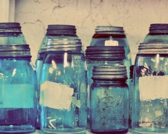 Blue Jars Photography, Still Life, Shabby Chic, Vintage Jars, Teal, Turquoise, Cerulean, Country Decor, Mason Jars Photo