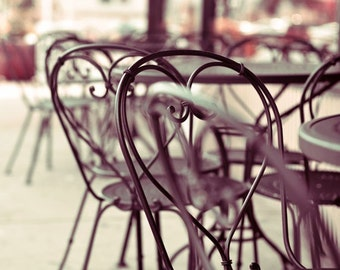 Cafe Chairs, Photography, Still Life, Simple, Modern, French, France, Neutral Color, Black, Classic, Kitchen Art