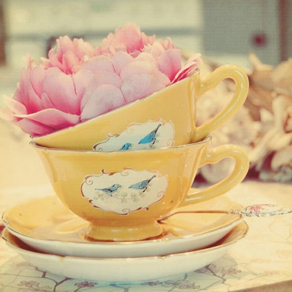 Still Life Photography, Teacup Photograph, Yellow, Shabby Chic, Flower in Tea Cup, Whimsical Photo, Kitchen Art, Home Decor