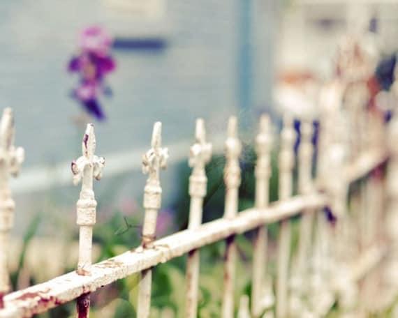 Fence Photograph, Blue, Rustic Decor, Fine Art Print, Vintage Style Photo, Cottage Decor, Still Life Photography