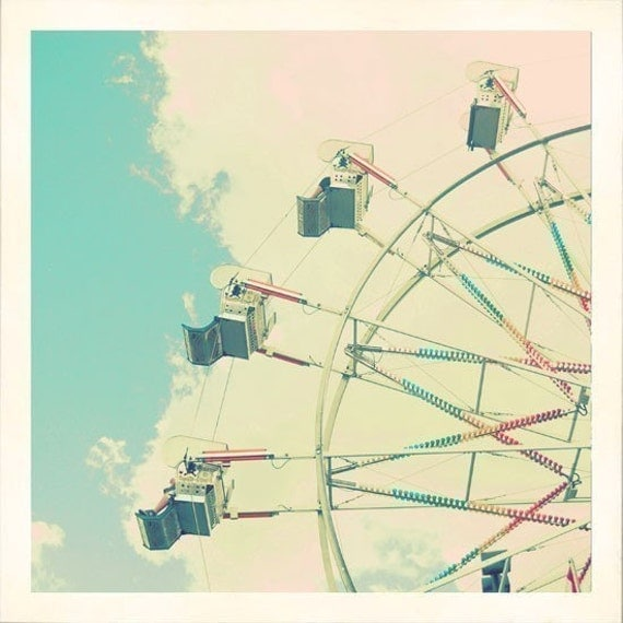 Ferris Wheel Photograph, Pastel, Blue Skies, Clouds, Carnival, Nursery Decor, Whimsical, Pink, Mint,