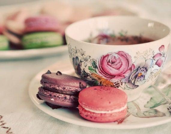 Kitchen Art, , Macaron Photograph, Food Photography, Tea Cup, Tea Photograph, Pastel Color, Shabby Chic, Fine Art Print