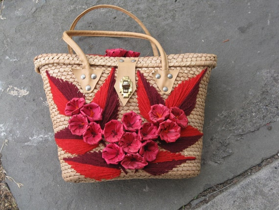 SALE Vintage 60's Woven Handbag Purse Embellished with Flowers Mexico