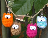 Pink or Orange Owl Zipper Pulls-Stocking stuffers
