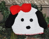 Crochet knit Valentine's Day Puppy Dog Beanie for Valentines Day and Winter Fun