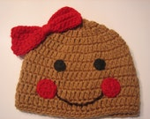 Crochet Knit Gingerbread Girl  Beanie for Valentines Day and Winter Fun - custom made to order