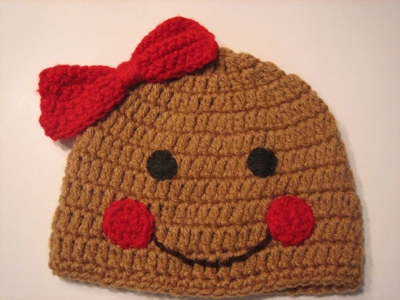 Christmas Gingerbread Cookie Crochet Beanie for Little Sweetheart - Thanksgiving hat for infants and newborns