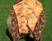 Quilted Floral Asian Influenced Lap Quilt Throw or Tablecloth Browns Gold Yellow etc