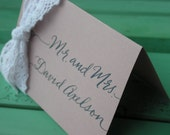 Vintage lace and real hand calligraphy dusty rose escort cards custom colors LARGE ORDER DISCOUNT