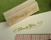 SALE Thank You Calligraphy Stamp for card making and Scrapbooking - Small