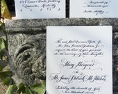Calligraphy Wedding Invitation On Cotton Royalty Cardstock: Handwritten with Calligraphy in Raised Thermography couture luxury