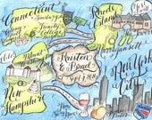 Watercolor Wedding Love Story Map DIY, print at home or order prints