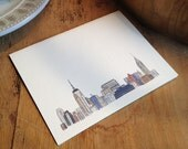 Watercolor Vintage New York City Skyline Card