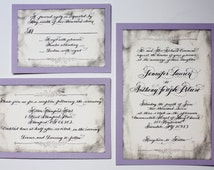 Calligraphy Vintage Wedding Invitations Love no. 24 with real handwritten calligraphy on cotton paper and rsvp included.
