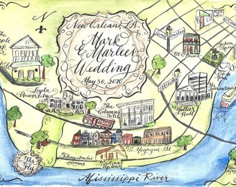 Watercolor Wedding Map Save-The-Date postcard, DIY or order prints