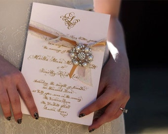 "Luxury Wedding Invitation with calligraphy and thermography Love No. 8 ""Rosings Park"""