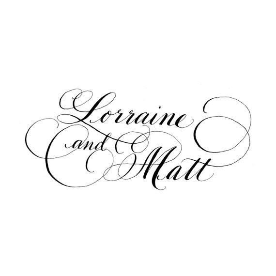 Wedding calligraphy bride and groom logo diy