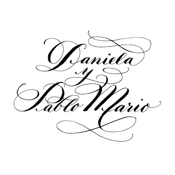 Wedding Calligraphy Bride and Groom Logo DIY Calligraphy Artwork Digital, PDF JPEG