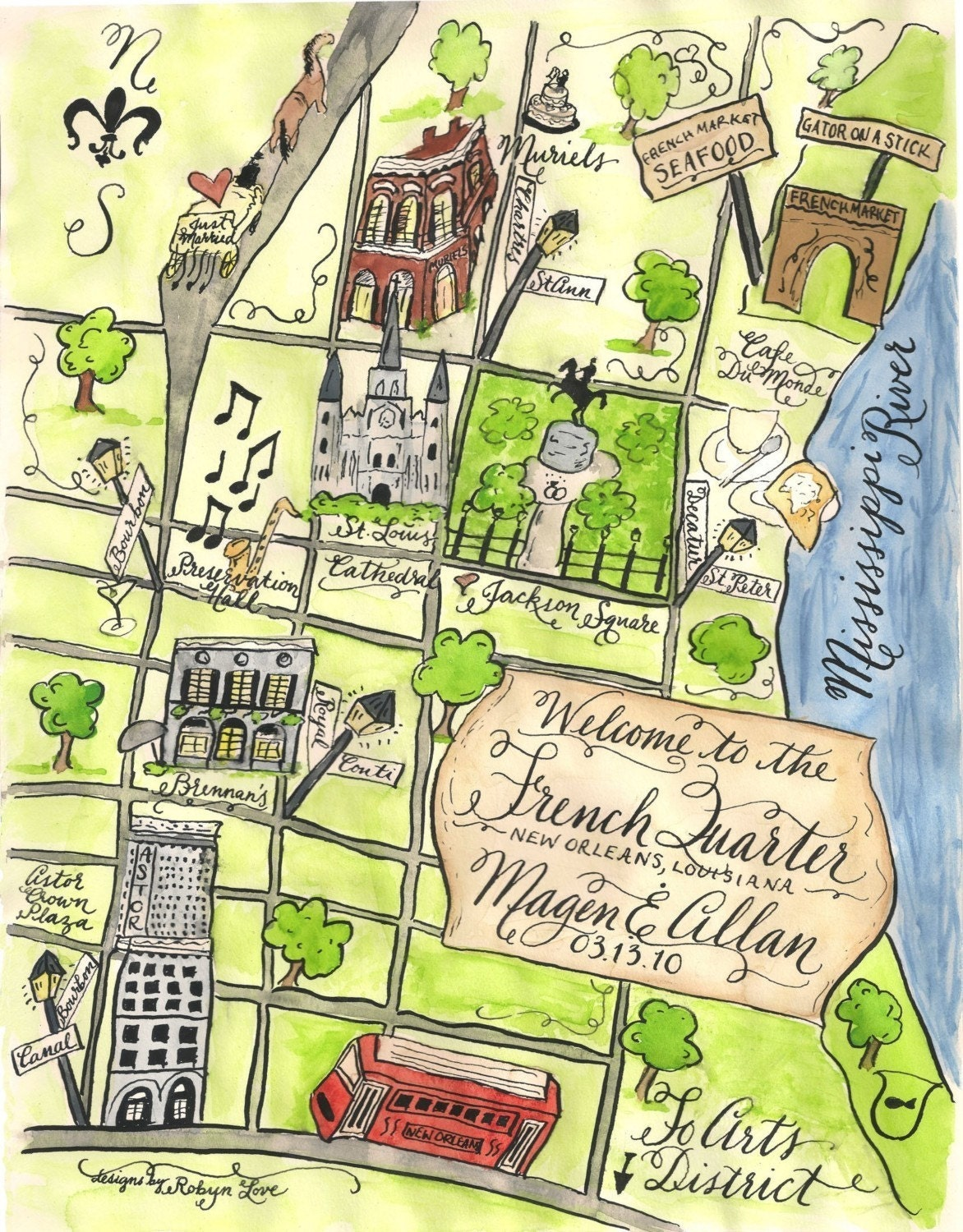 Design Your Own Home Louisiana Watercolor Wedding Map Diy Print At Home Or Order Prints