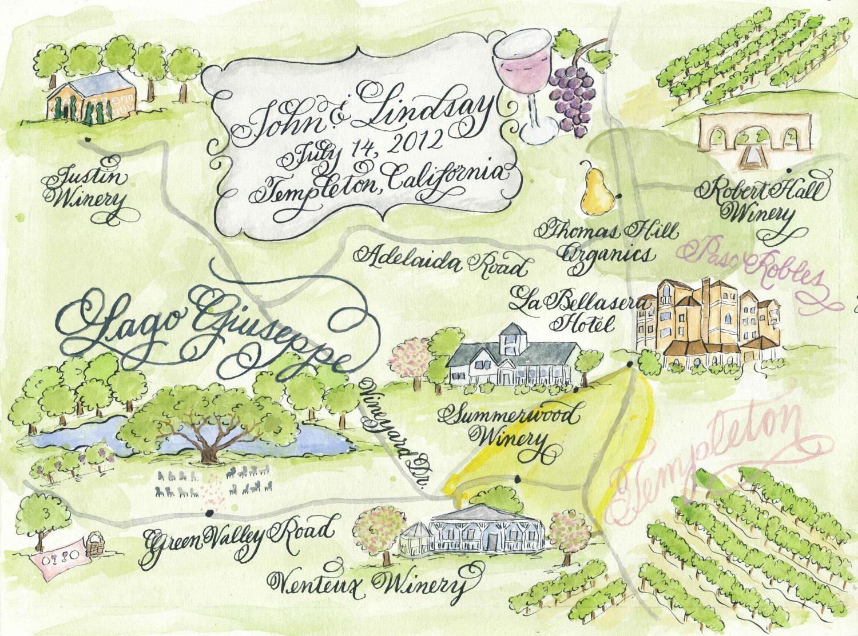 Print Map For Wedding Invitations: Watercolor Wedding Map DIY Print At Home Or Order Prints