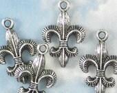 12 Double Sided Antique Silver Fleur de Lis Charms - Saints or Tigers Fan (P712)