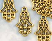 10 Hamsa or Hand of Fatima Charms - 23mm Antique Gold Perfect for Earrings - Evil Eye Protection (P722)
