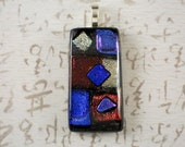 Handmade CARNIVALE Dichroic Glass Pendant Cobalt Silver Violet & Deep Red FREE Neckcord (3030)