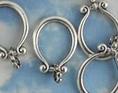 4 Large Silver Hanging Horseshoe Pendant Link Loops (P347)