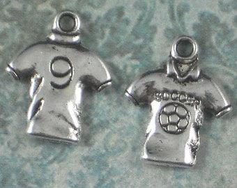 12 Silver Soccer Shirt - No 9 - Pewter Charm Pendant (P259)