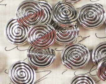 12 Spiral Beads 12mm Flat Round Antiqued Silver Tone (P303)